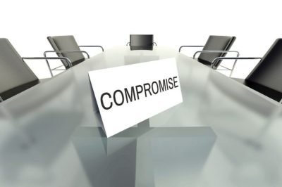 Compromise, business table card in office