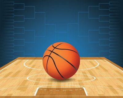 An illustration of a basketball on a court and a tournament bracket in the background. Vector EPS 10. EPS file is layered and contains transparencies.