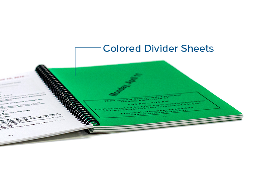 Omnipress Color Divider Sheet Options
