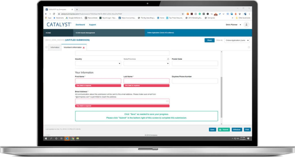 Application Management submission form save and return feature