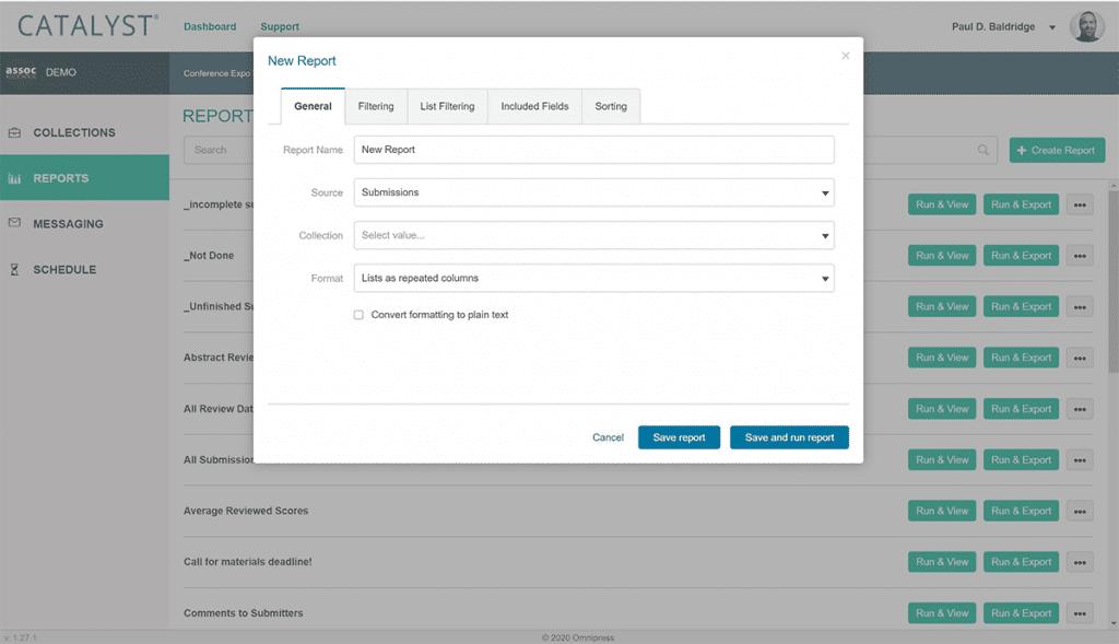 Screenshot of CATALYST Custom Reports