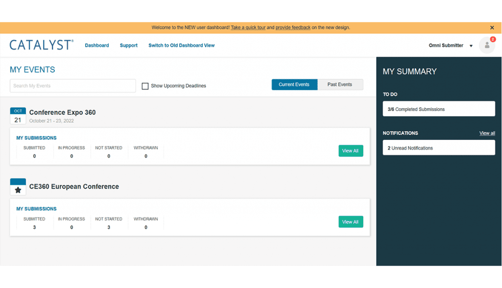 Screenshot of CATALYST Submitter Dashboard with Multiple Events